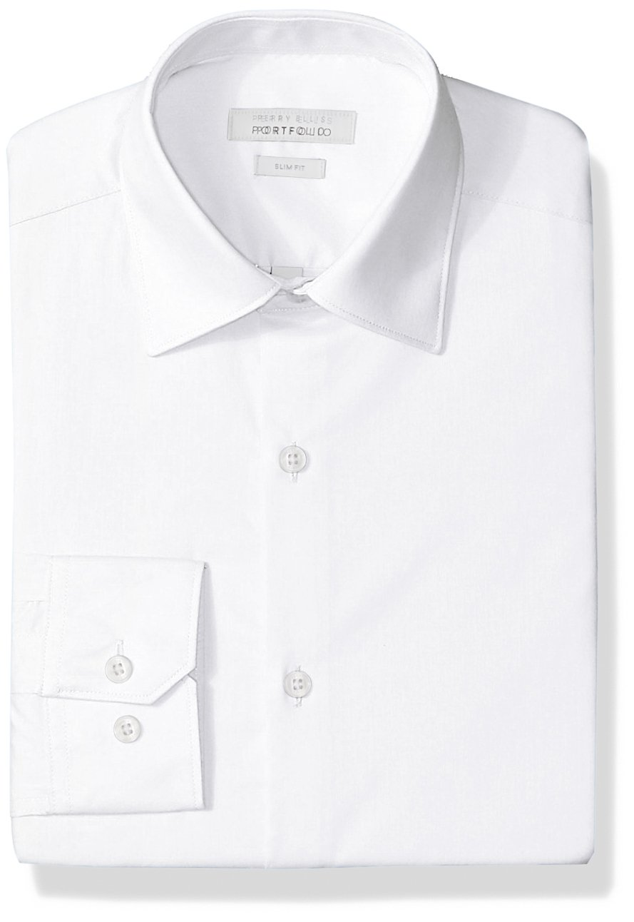 Perry Ellis Men's Slim Fit Wrinkle Free Dress Shirt, White, 16.5 32/33