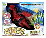 RIANZ Dinosaur Planet Infrared Walking Robot T-Rex Dinosaur with Wings + Head Movement for Kids Fire Dragon (Color Red)