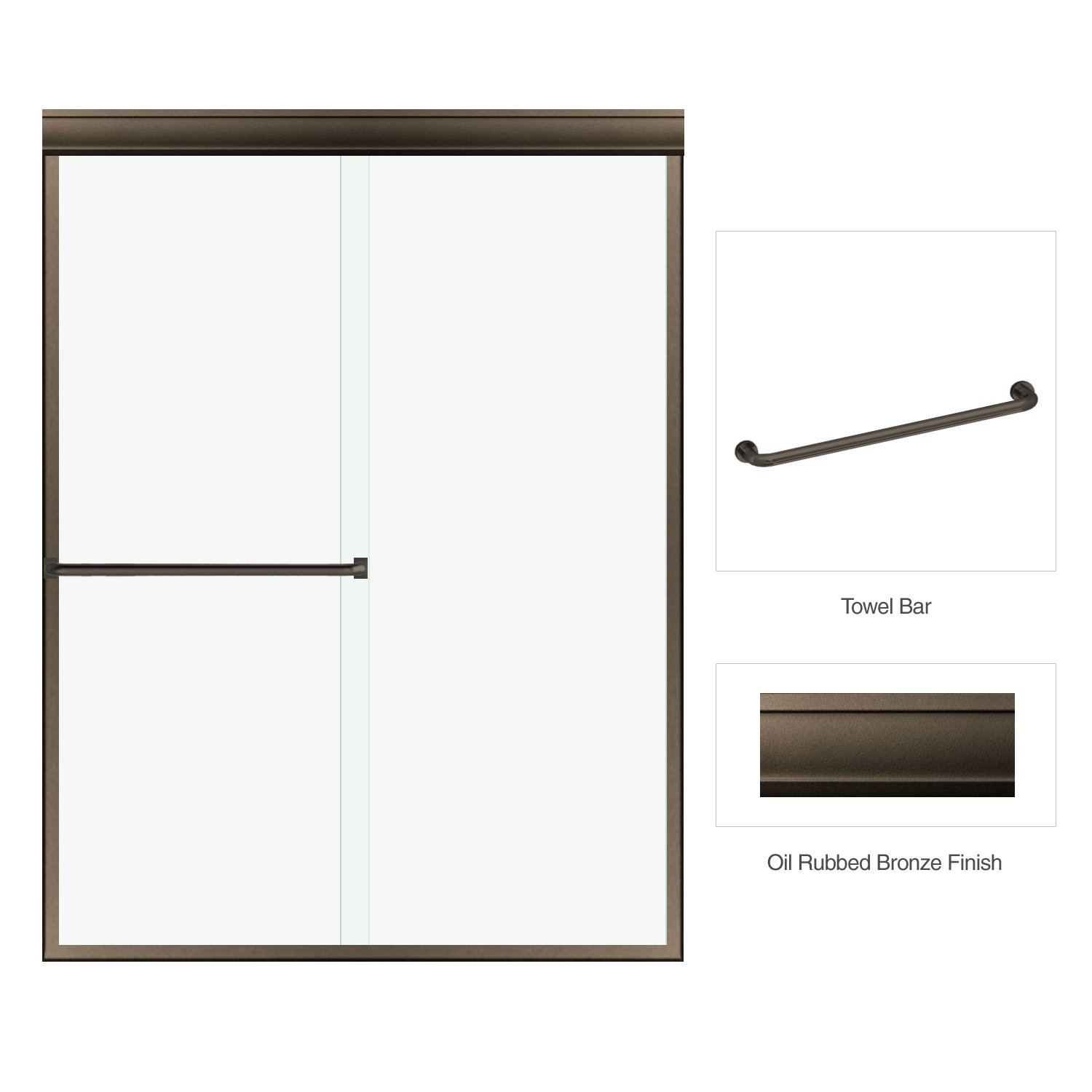Classic 3/16'' Clear Glass Frameless Bypass Sliding Shower Enclosure 56''-60'' W x 70'' H Oil Rubbed Bronze Finish by Fab Glass and Mirror