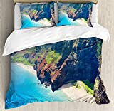 Hawaiian Decorations Duvet Cover Set Queen Size by Ambesonne, Na Pali Coast on Kauai I?sland on Hawaii in a Sunny Day Seaside Mountain Skyline, Decorative 3 Piece Bedding Set with 2 Pillow Shams