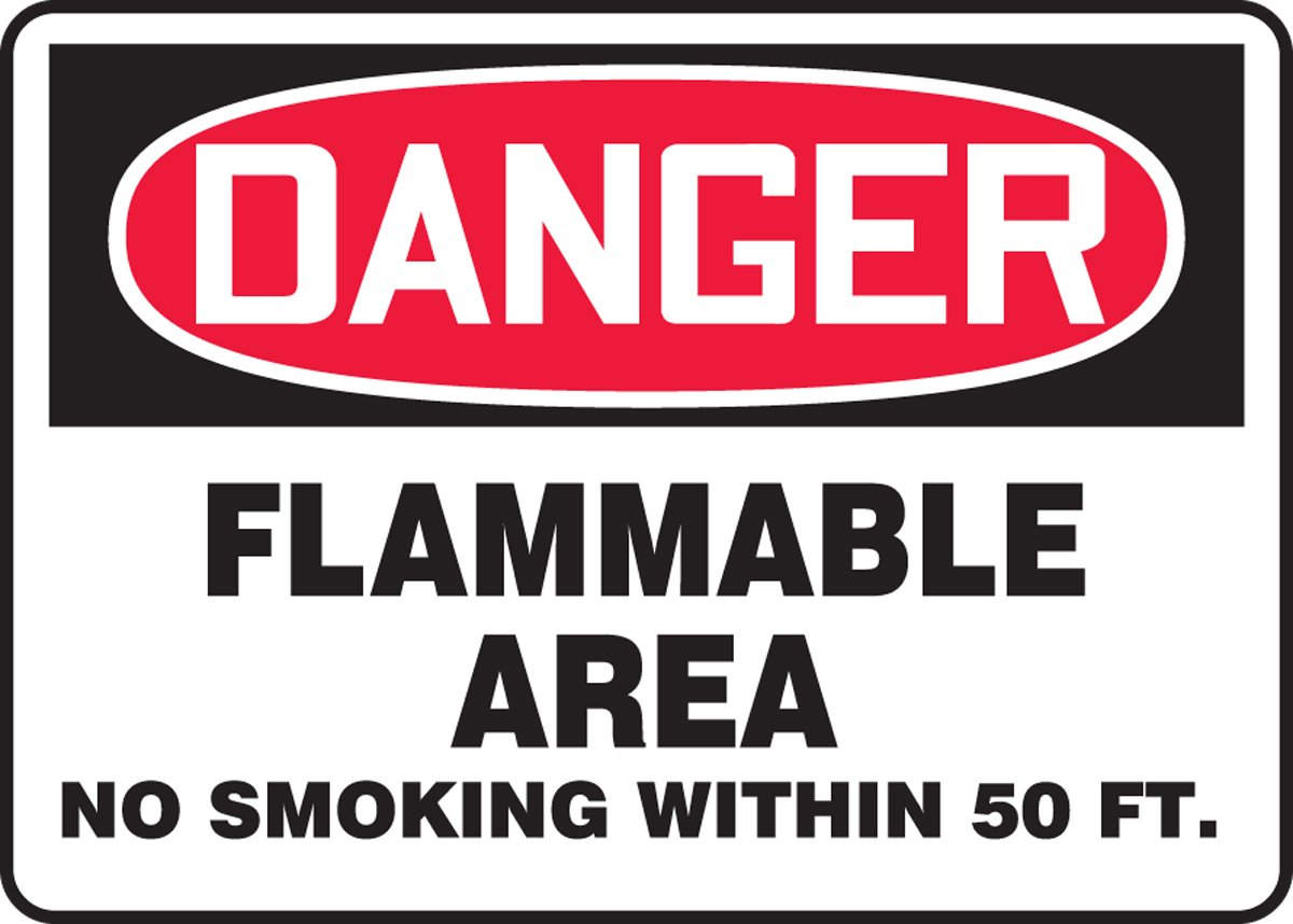 Safety Sign AccuformDanger Flammable Area MCHL008XP No Smoking Within 50 FT 7 x 10 Inches Accu-Shield