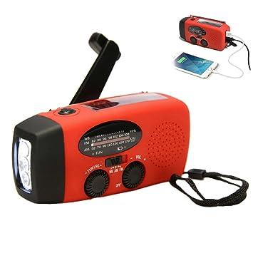 AM//FM//NOAA Wetterradio als Notfall-LED-Taschenlampe mit selbstbetriebenem Solar-Handkurbel-Dynamo und Powerbank von Buwico