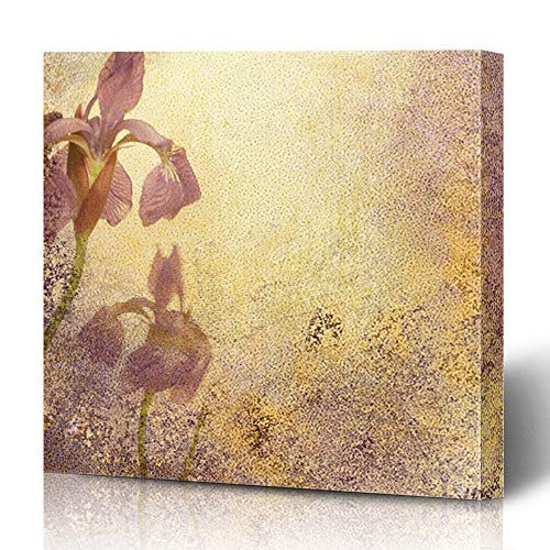 (Ahawoso Canvas Prints Wall Art 12x12 Inches Messy Purple Royal Iris Abstract Stationary Grungy Watercolor Aged Announcement Antique Bloom Blotchy Ivory Decor for Living Room Office Bedroom)