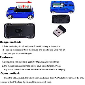 Kamouse Car Mouse Wireless 3D 2.4G Cool Car Shaped Wireless Mouse Computer Mouse for Laptop PC Windows 10 (Color: Blue)