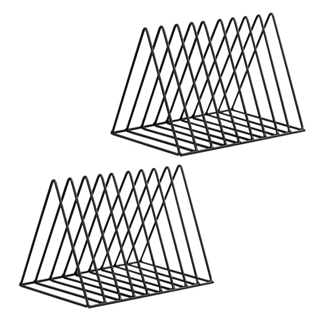 Homyl 2pcs Nordic Style Metal File Organizer Triangle Desktop Storage Rack Bookshelf Magazine Holder Black