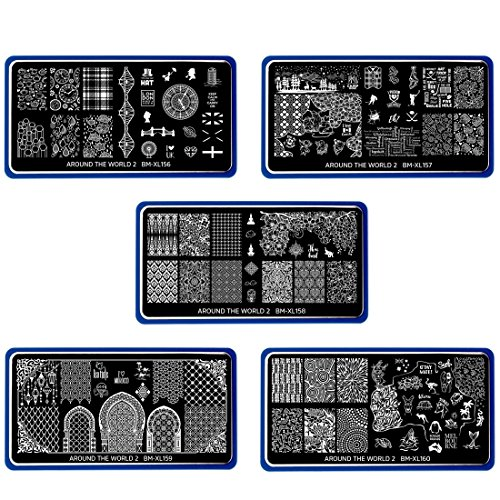 (Maniology (formerly bmc) 5pc XL Nail Plate Set - Around the World 2 (XL-156 to XL-160))