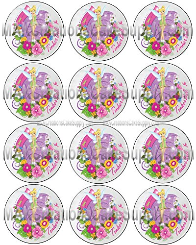 Tinkerbell Licensed Edible Cupcake / Cookie Toppers ~ 12 Per Sheet 6311