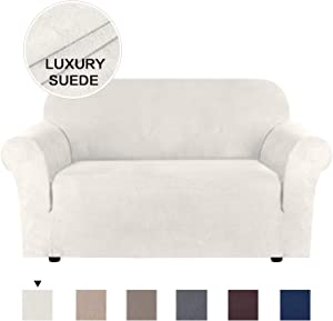 "H.VERSAILTEX Stretch Couch Cover Loveseat Covers for 2 Cushion Couch Loveseat Slipcover Suede Form Fit Stylish Furniture Covers Water Repellent Machine Washable (Loveseat 48""-68"", Off White)"