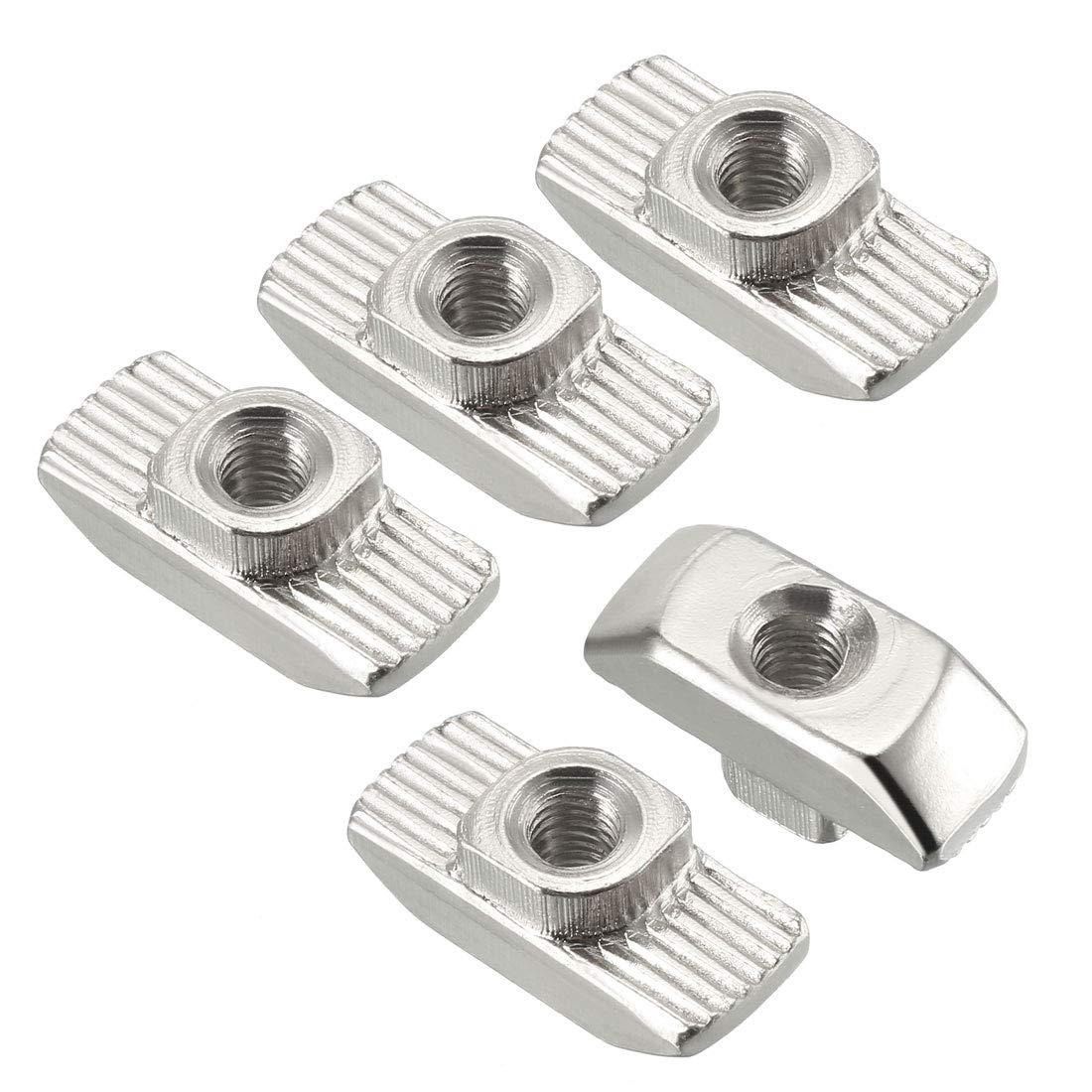 Carbon Steel Nickel-Plated sourcing map Sliding T Slot Nuts M3 Half Round Roll in T-Nut for 2020 Series Aluminum Extrusion Profile Pack of 10