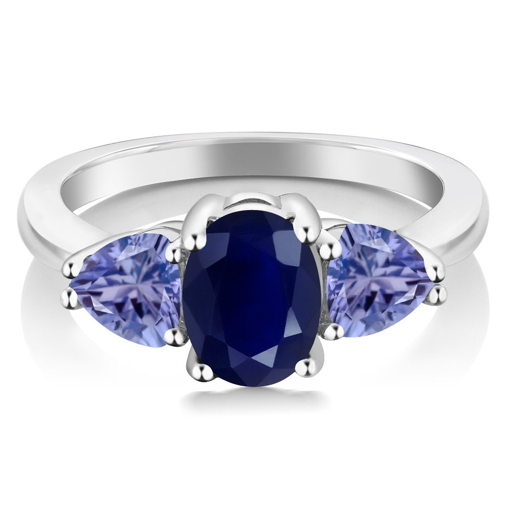 Gem Stone King 2.59 Ct Oval Blue Sapphire Blue Tanzanite 925 Sterling Silver 3 Stone Ring
