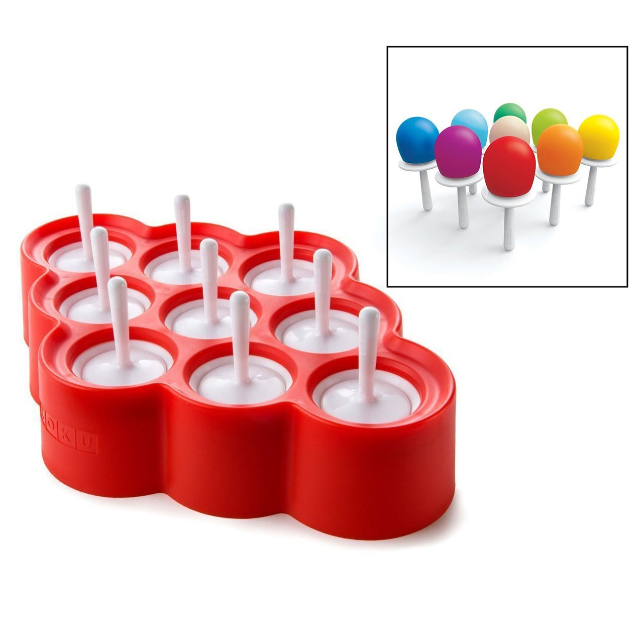 Itian 9 x Mini Silicone Ice Cream Molds Kids Kitchen Ice Popsicle Moulds Kitchen Tool Set (Red)