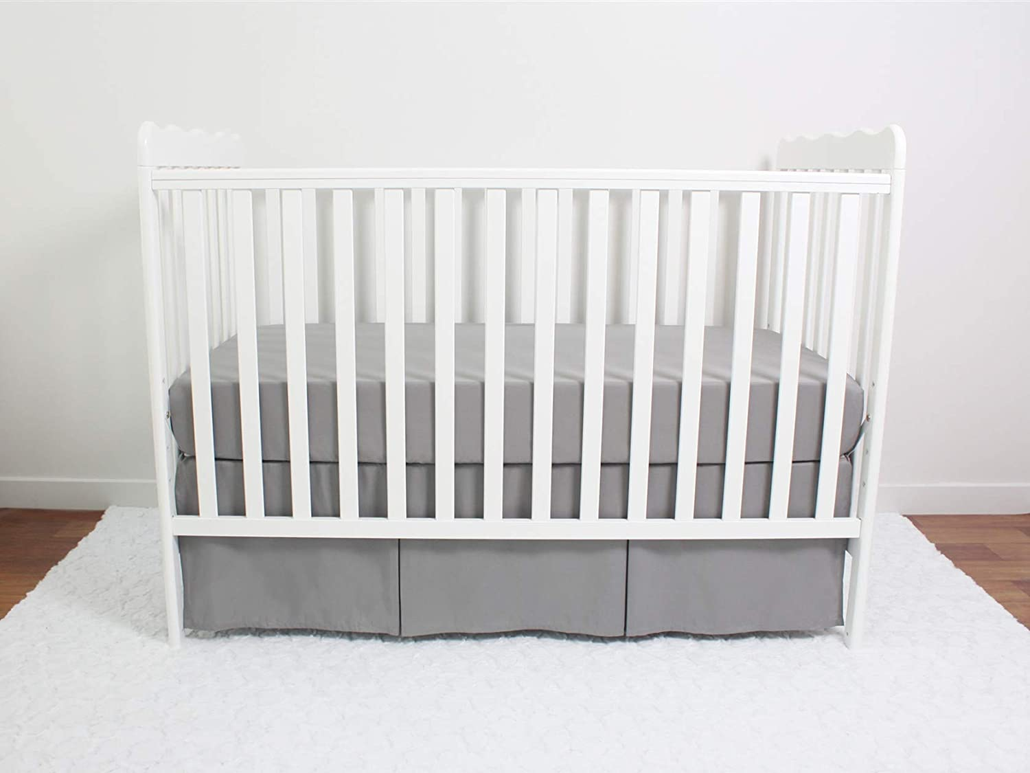 CaSaJa Classic Microfiber Crib Skirt with One Side Pleated Soft Breathable Dust Ruffle Fits Standard Crib and Toddler Bed 14 inchs Drop Grey Neutral Color for Baby Boys and Girls