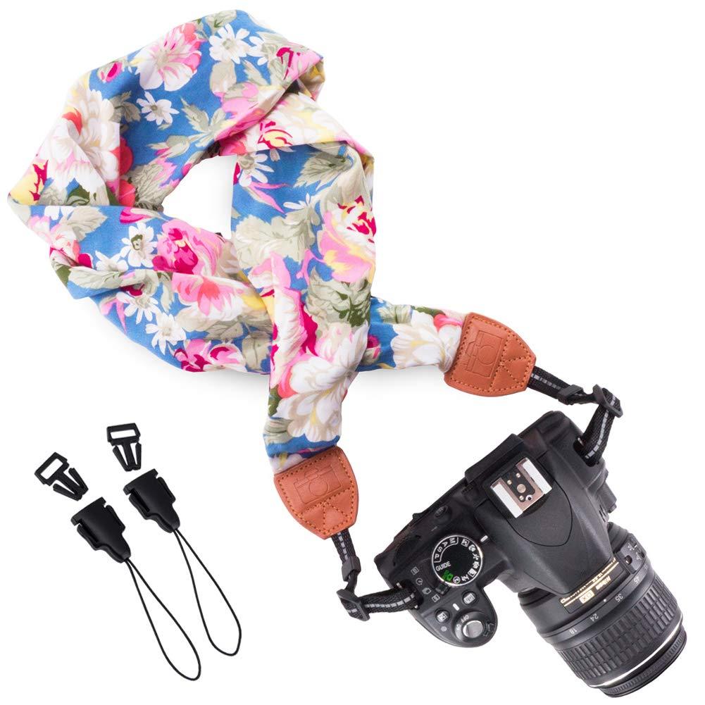 Wolven快適スカーフカメラネックショルダーストラップベルトfor Nikon / Canon / Sony / Olympus / Samsung / Pentax / Fujifilm Instax Mini / DSLR / SLRカメラネックショルダーベルトストラップ ブルー B06XDLDW51 ブルー