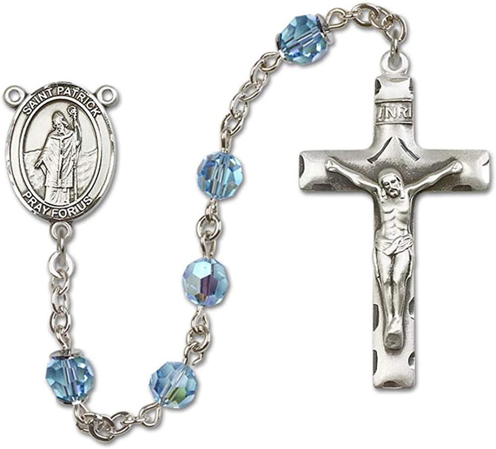 All Sterling Silver Rosary with Aqua Patrick Center 6mm Swarovski Austrian Tin Cut Aurora Borealis Beads St St Patrick is the Patron Saint of Snakes//Engineers//Ireland.