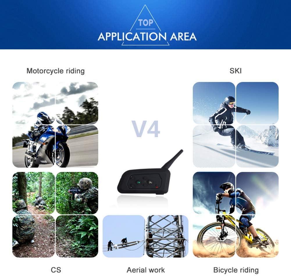 SYNL BT Walkie-Talkie Motorcycle Helmet Bluetooth Headset 2 People Full Duplex 1200M Barrier-Free Outdoor Intercom with FM Radio Function Black,2pack