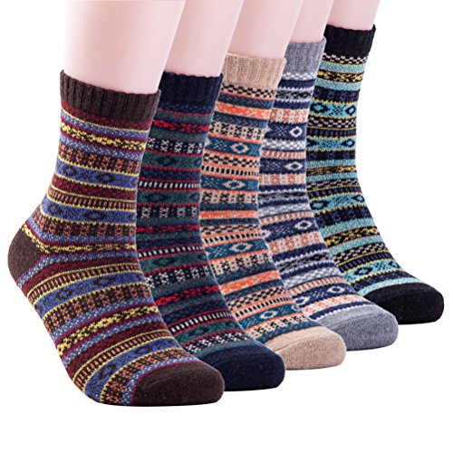 Mens Winter Warm Wool 5 pairs Crew Cute Socks Mixed Color (AJSK37)