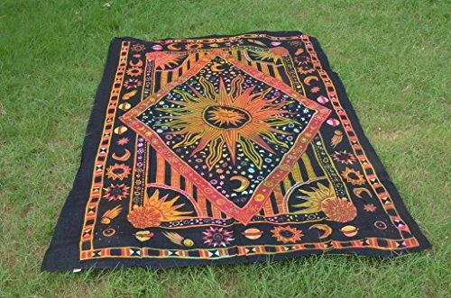 Burning Sun Tapestry Tie Dye Celestial Sun Moon Planet Tapestries Hippie Gypsy...