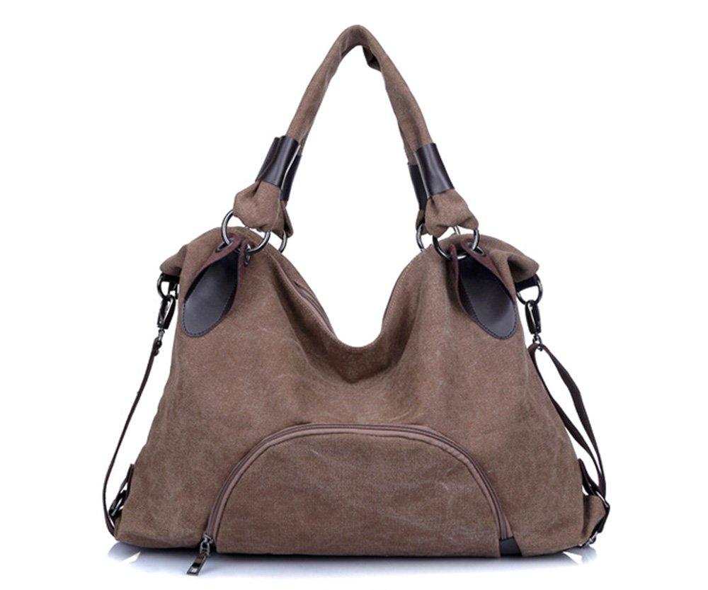 Fansela(TM) Women Canvas Shoulder Crossbody Hobo Bag (Removable Shoulder Strap) Brown