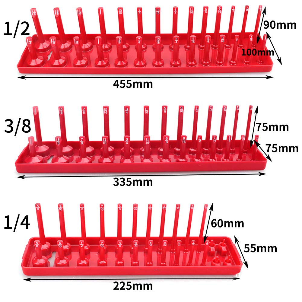 3Pcs 90 Sockets Metric//SAE Magnetic Socket Holder Tray Drive Direct Rail Rack Toolbox Tool Socket Tray as Shown,Red