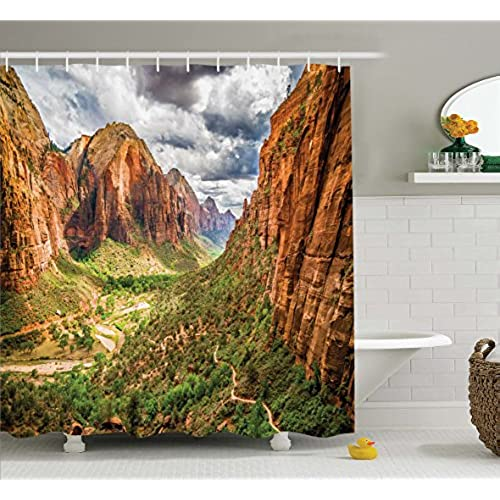 National Parks Home Decor Shower Curtain By Ambesonne, Utah Plateau Mojave  Desert Southwest Erosion Navajo Artprint, Fabric Bathroom Decor Set With  Hooks, ...