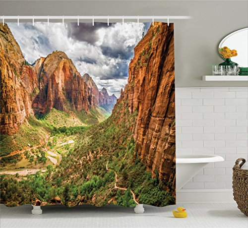 Ambesonne National Parks Home Decor Shower Curtain by, Utah Plateau Mojave Desert Southwest Erosion Navajo Artprint, Fabric Bathroom Decor Set with Hooks, 70 Inches, Brown Green by Ambesonne