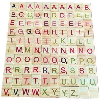 Alfabeto de Madera Scrabble Azulejos Números de Letras Juguete Educativo para niños 100 Pack para Juegos de Mesa Marco de Boda Arte de Pared Reemplazo de Manualidades Joyería Scrapbooking: Juguetes y juegos