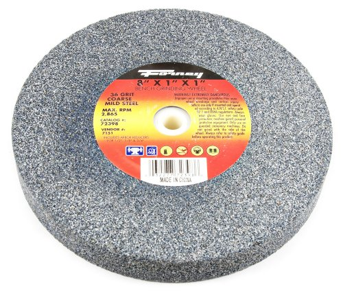 Forney 72398 Bench Grinding Wheel, Vitrified with 1-Inch Arbor, 36-Grit, 8-Inch-by-1-Inch