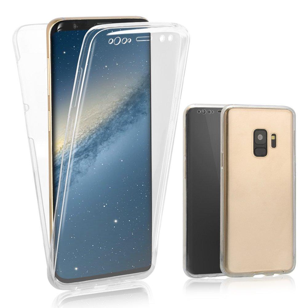 Cover per Samsung Galaxy S9 Full Body, Bonice Custodia per Samsung Galaxy S9, Ultra Sottile Morbido TPU Full Body Front Retro TPU Trasparente Protezione a 360° Resistente Ai Graffi – Bianca BN-S9-QuanBaoKe-Bai