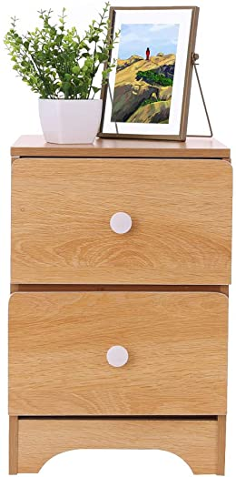 JAWM Natural Solid Wood Storage Bedside Cabinet, Assemble Storage Cabinet Bedroom Bedside Locker Double Drawer Bedside Table