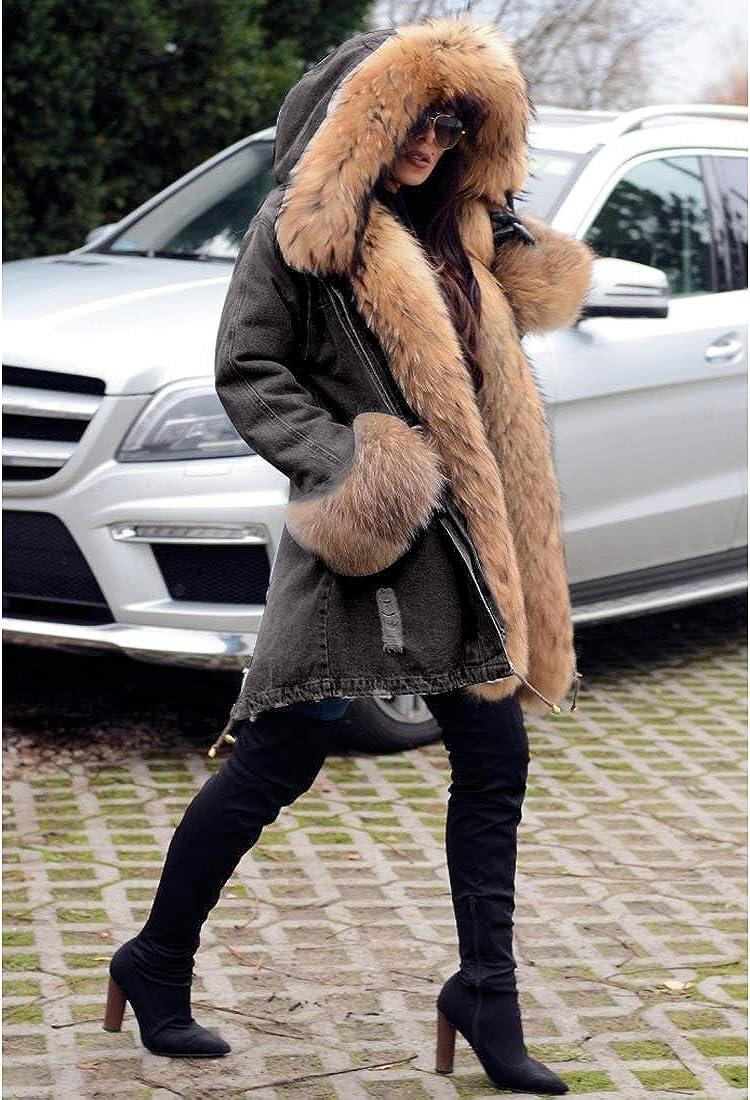 Aox Women Winter Denim Coat Thicken Lined Faux Fur Hood Jacket Warm Sherpa Fur Overcoat Plus Size Jean Outerwear