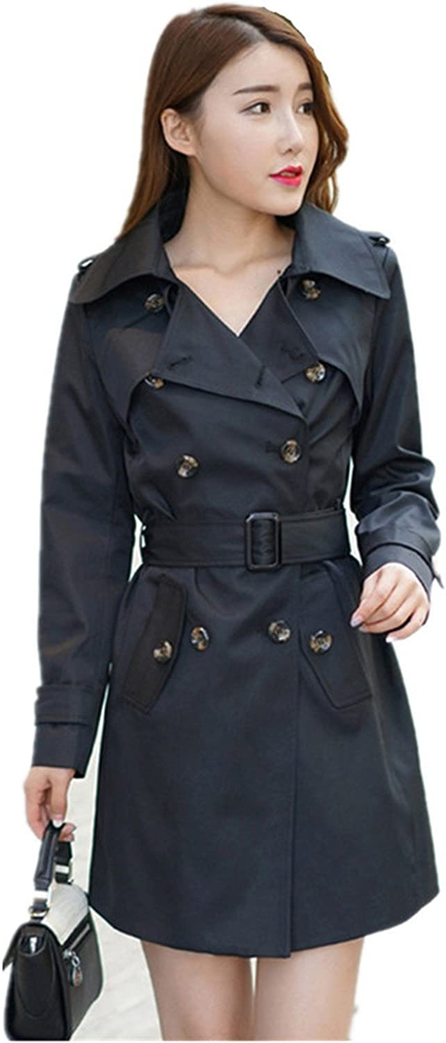 LOKOUO Autumn Coat Plus Size XXXXXL Slim Lapel Double-Breasted Long Section Trench Coat For Women C3062 Black3X-Large
