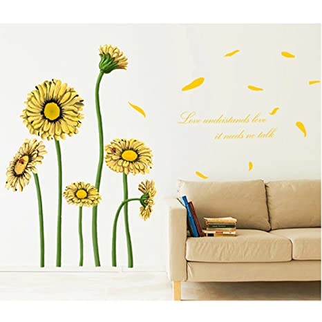 Amarillo Girasoles Ingles Letras Adhesivo Decorativo Para Pared