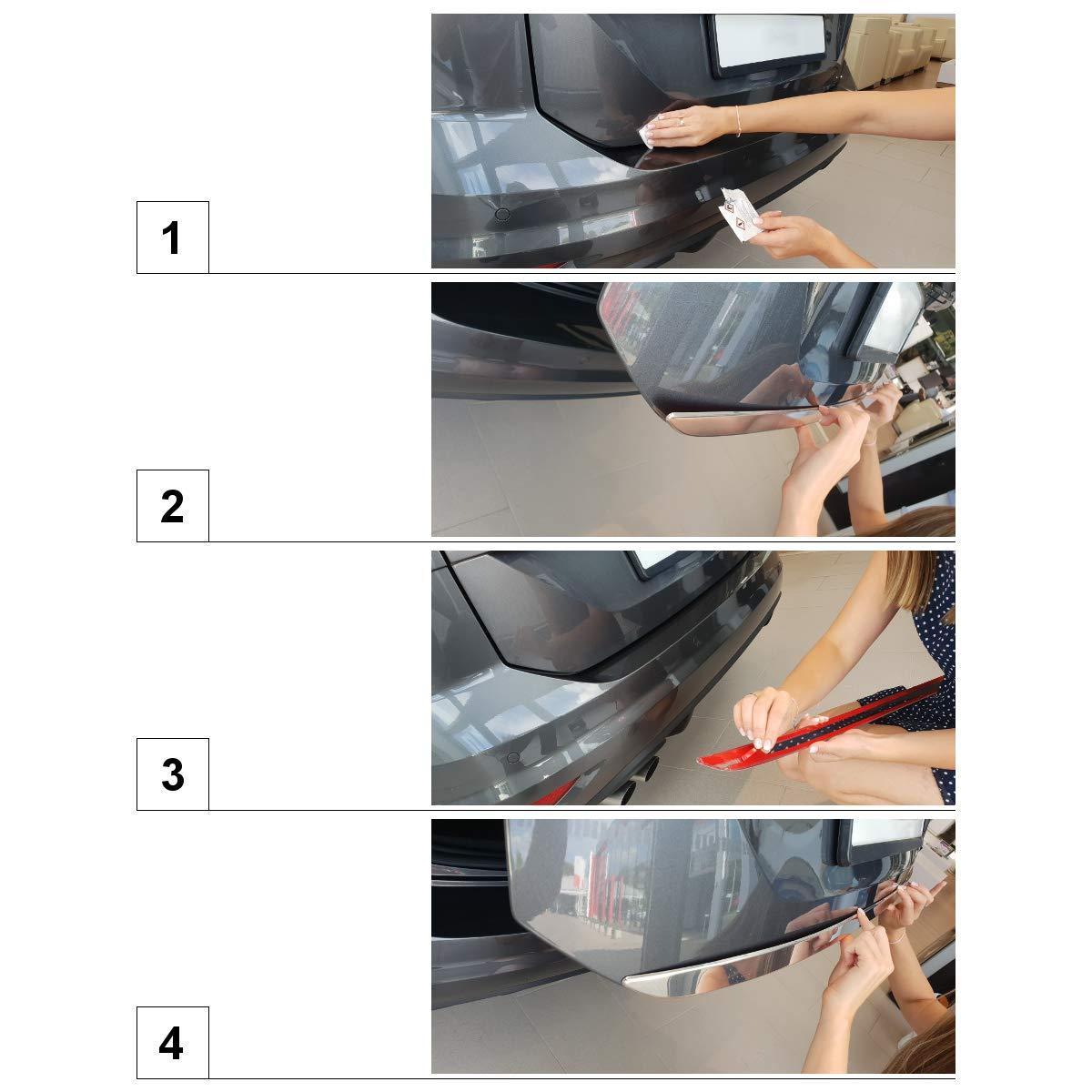 argento lucido Protezione soglia bagagliaio in acciaio 5902538647724