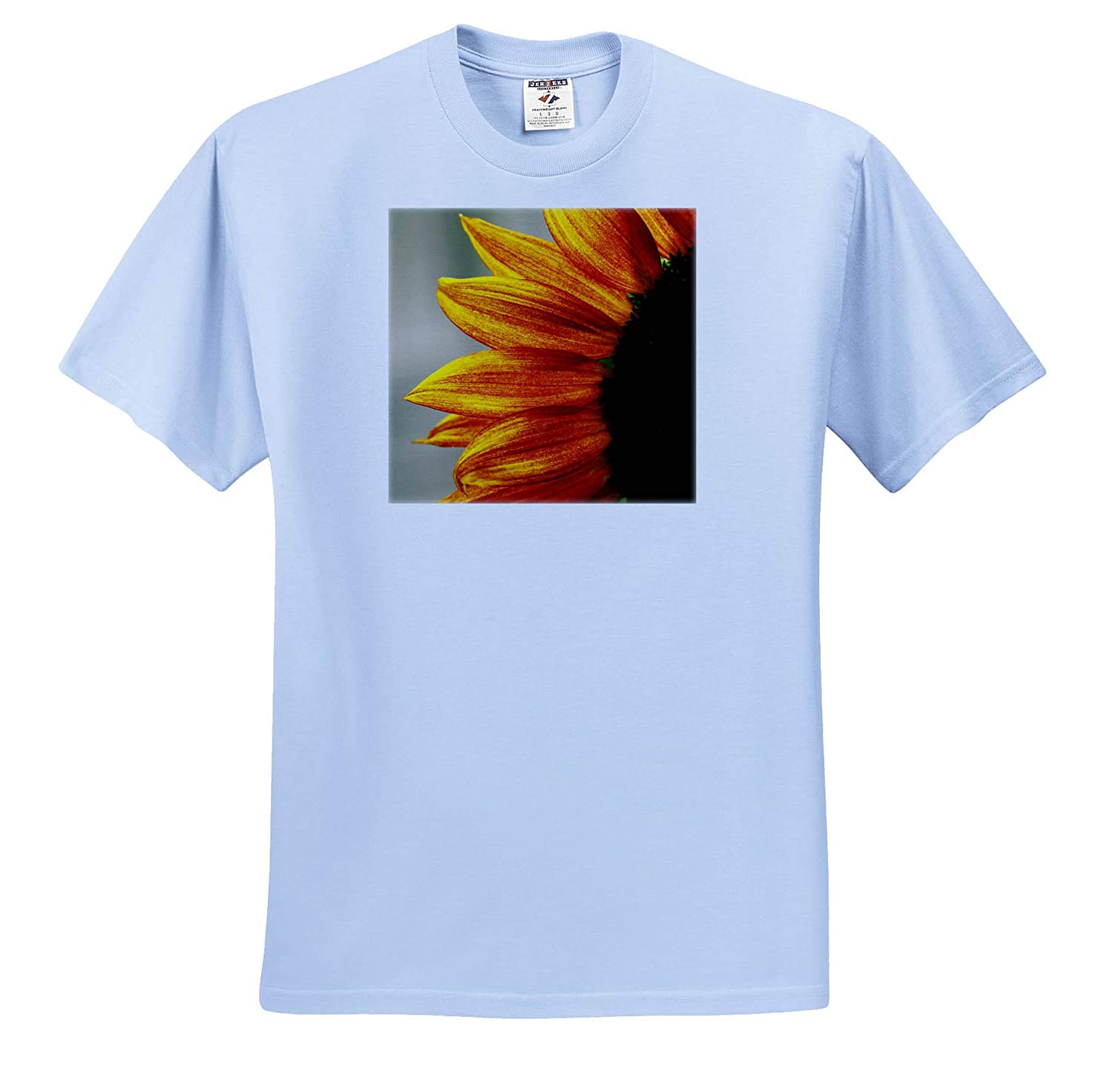 - Adult T-Shirt XL Flowers Macro Photograph of The Left Side of a red and Yellow Sunflower ts/_320174 3dRose Stamp City