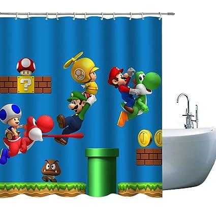 Kids Cartoon Super Mario Bathroom Curtain Decor Cute Dinosaur Mary Shower For