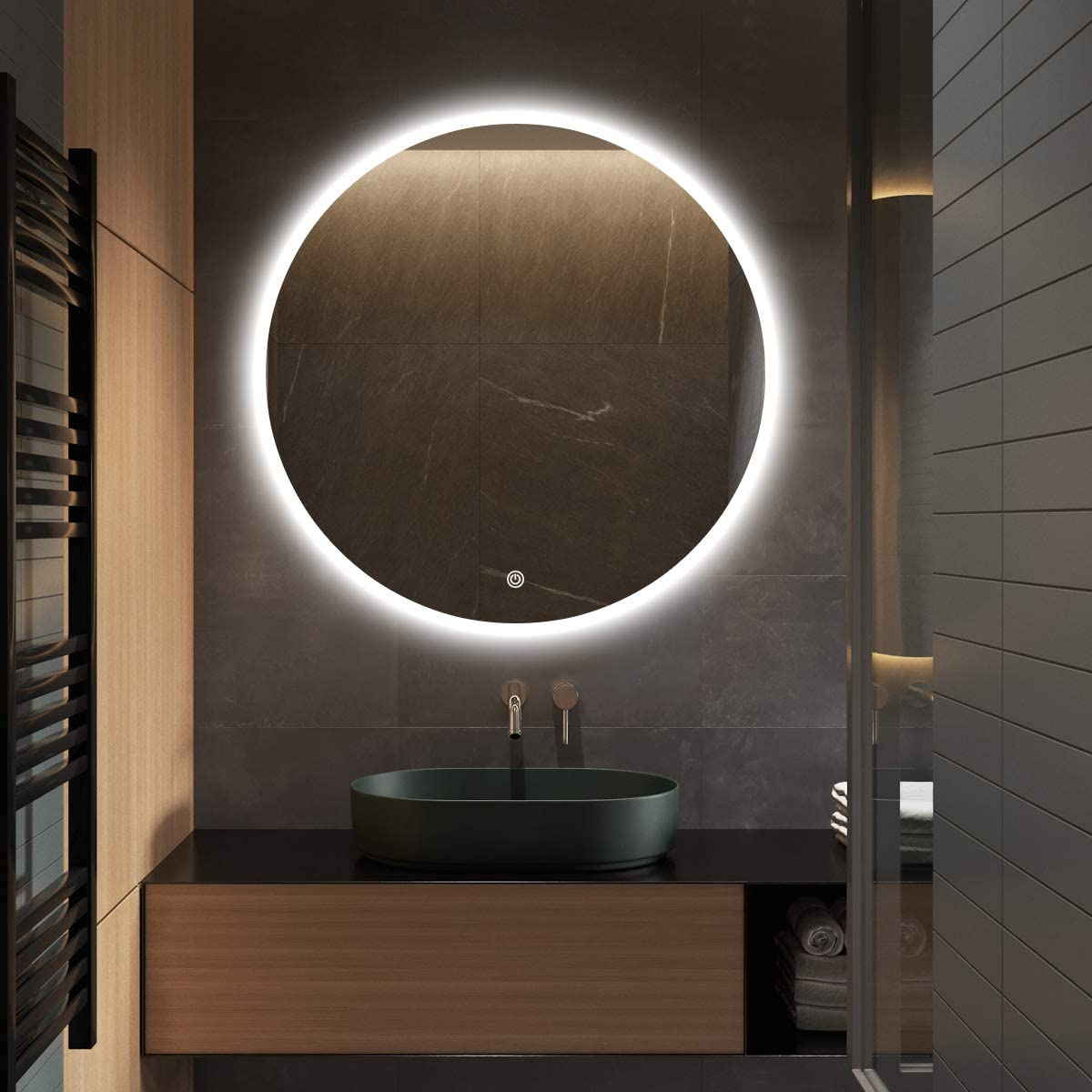 S bagno 32 Inch Diameter Modern Round Illuminated LED Bathroom Mirror, with Built-in Bluetooth Speaker, Dimming Function, Demister pad and Touch Sensor Switch