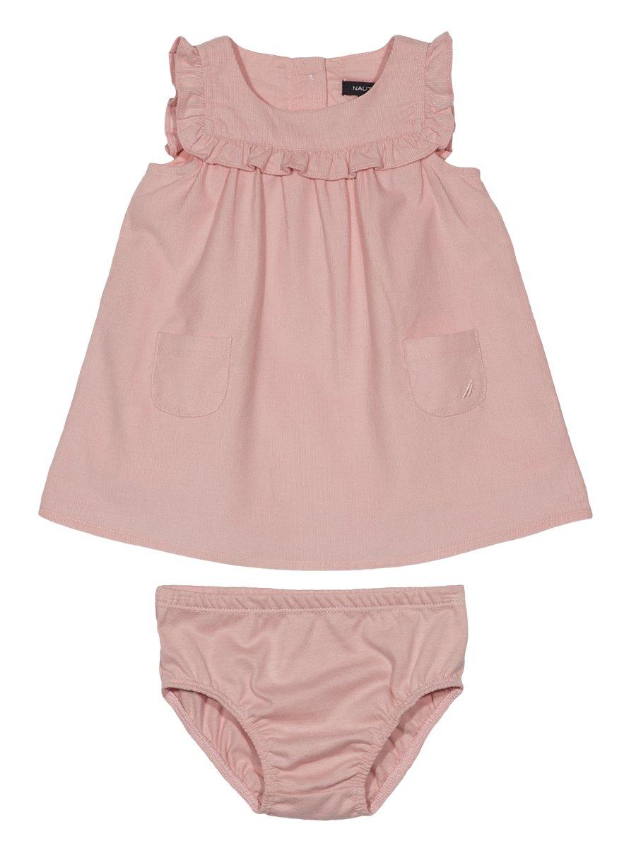 Nautica Baby Girls' Fine Wale Cord Dress, Light Pink, 12 Months