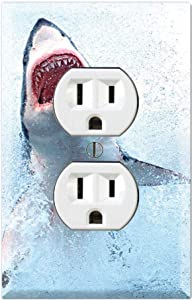 Graphics Wallplates - Great White Shark Attack - Duplex Outlet Wall Plate Cover