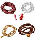 SaHaYa combo Set of 4 Pooja Malas ( Rudraksha/ Sphatik/Chandan & Red sandalwood)