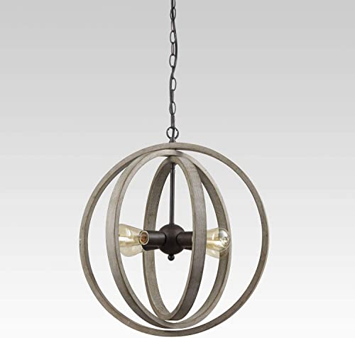 Modern Rustic Four Light Wood Orb Pendant with Antique Grey Wash Finish and Bronze Base