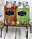 glass beverage dispenser on stand - Estilo 1 Gallon Glass Mason Jar Double Drink Dispenser with Leak Free Spigot On Metal Stand With Embossed Chalkboard and Chalk, Clear