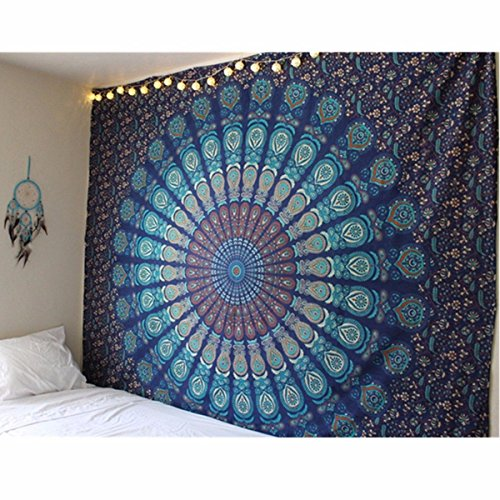 (Blue Tapestry Wall Hanging Mandala Tapestries Dorm Decor Hippie Tapestries Bohemian Tapestry psychedelic Wall Tapestries Bedding Indian Cotton Bedspread Picnic Bedsheet Blanket Wall Art)