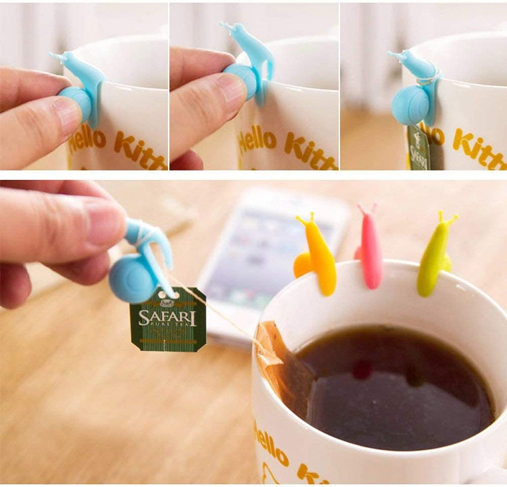 25Pcs Cute Snail Shape Silicone Tea Bag Holder Mug Kitchen Gift Candy Colours