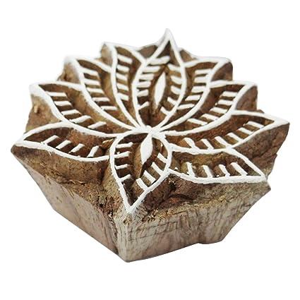 Amazoncom Lotus Flower Design Handmade Wooden Block Indian