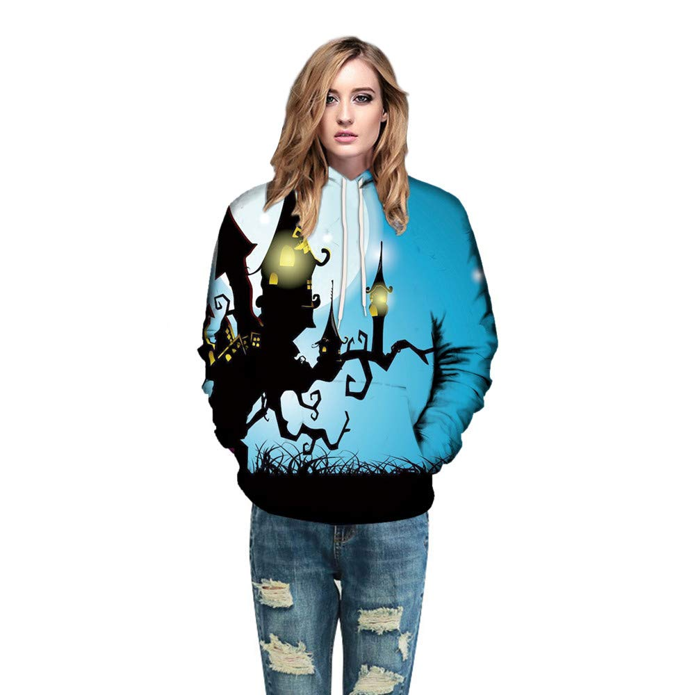 WOCACHI Christmas Halloween Costumes Womens Hoodie 3D Castle Couples Long Sleeve Pullover Sweatshirt Deal Tops Blouse Shirt Autumn Winter Blue by WOCACHI