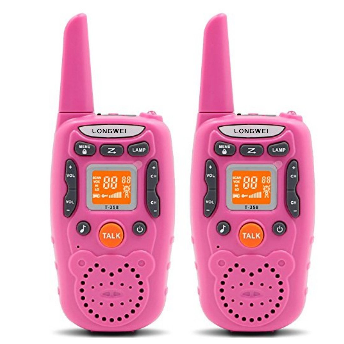 Kids Walkie Talkie Set 0.5W FRS/GMRS 22 Channel Two Way Radio Up to 3 Km Range for Children Camping Hiking(2PCS Pink) by longwei (Image #2)