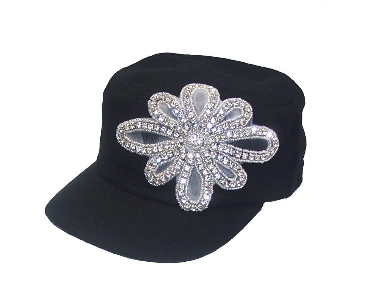 White Flower Rhinestone Flattop Black Hat by stonepowerss