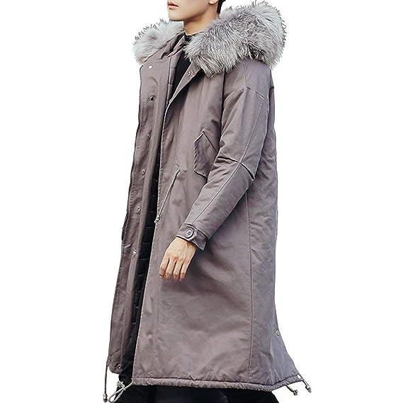 Abrigo De Invierno para Hombres con Capucha De Piel Coat hasta Rodilla La Parka De Algodón Parka Abrigos Acolchados: Amazon.es: Ropa y accesorios