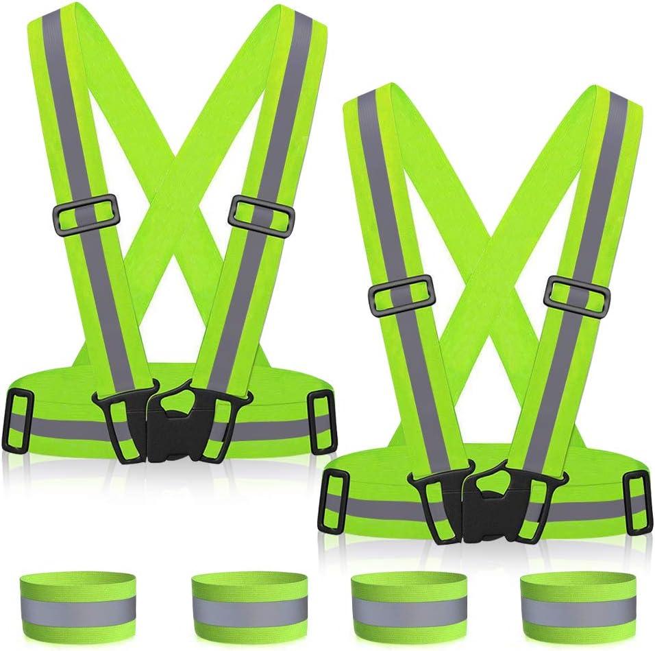 MMTX Chaleco de Seguridad Reflectante, Chaleco de Seguridad Reflectante Cinturon Cruzado de Visibilidad de Correa Reflectante Banda arnes Faja Cinturon de Chaleco de Correr, Verde