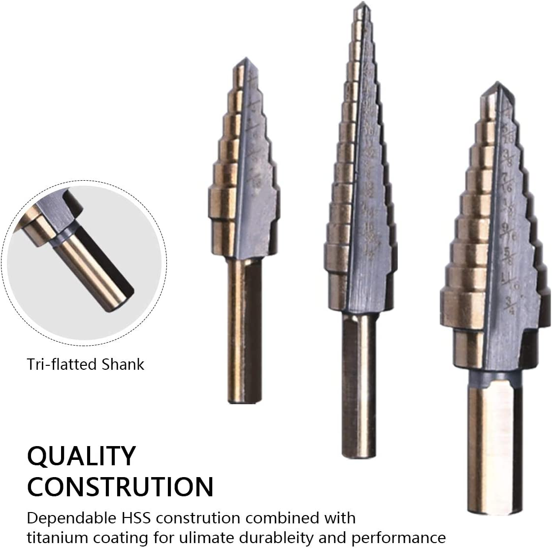 Multiple Stepped Up Bits for Sheet Metal Double Cutting Blades Yadianna 5Pcs Step Drill Bit Set Spiral Grooved Drill Bit